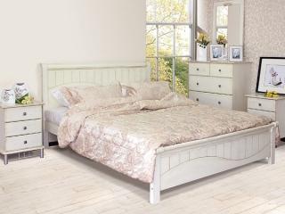 Кровать I-3655, цвет белый с патиной, массив гевеи
